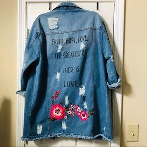 Faith Hope Love Long Distressed Denim Jacket